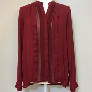 Adrianna Papell red long sleeved blouse
